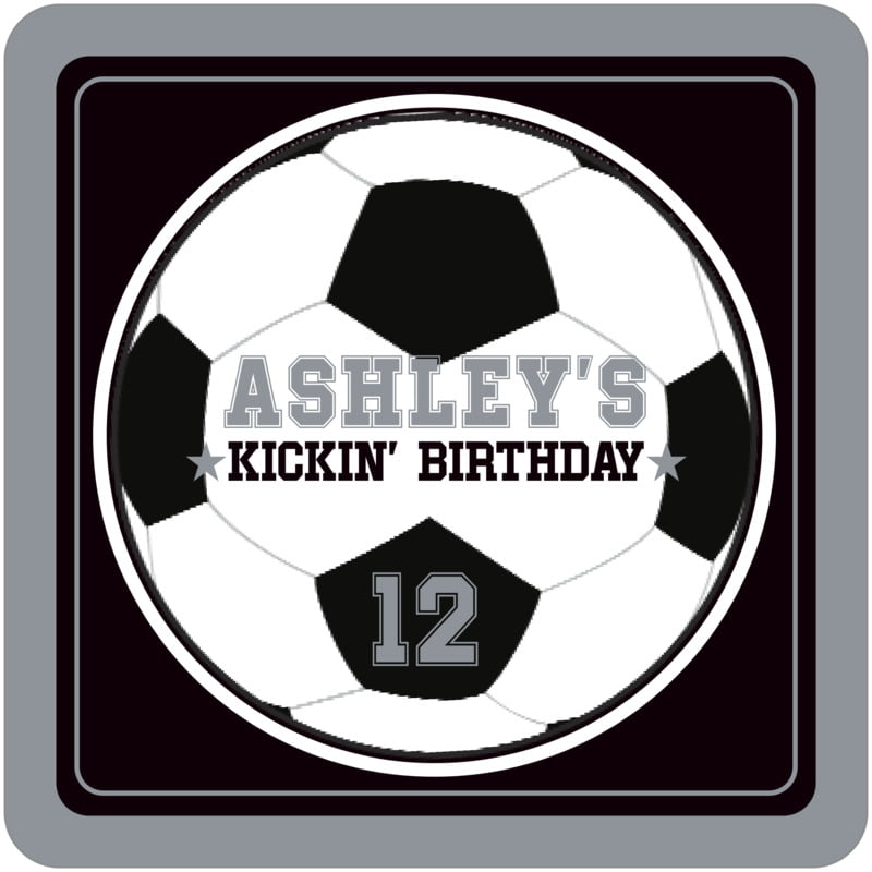 square beer coasters - black & silver - soccer (set of 12)