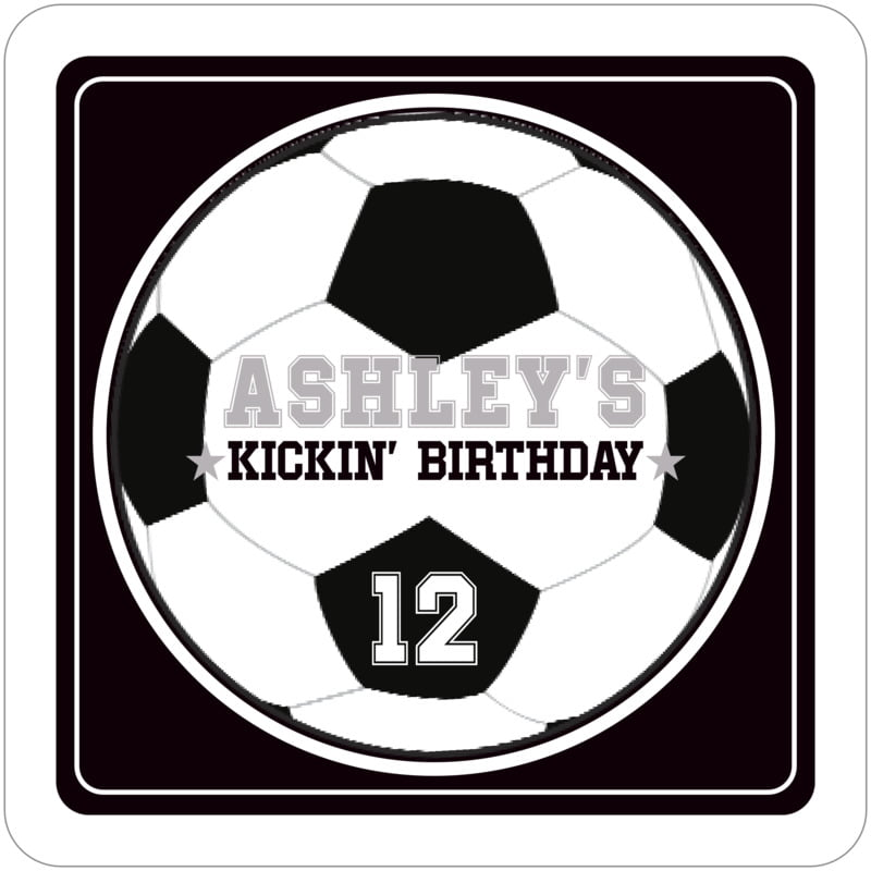 square beer coasters - black & white - soccer (set of 12)