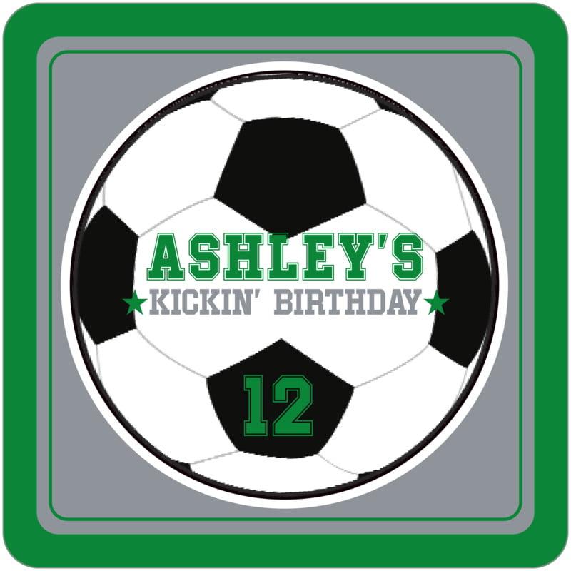 square beer coasters - silver & green - soccer (set of 12)