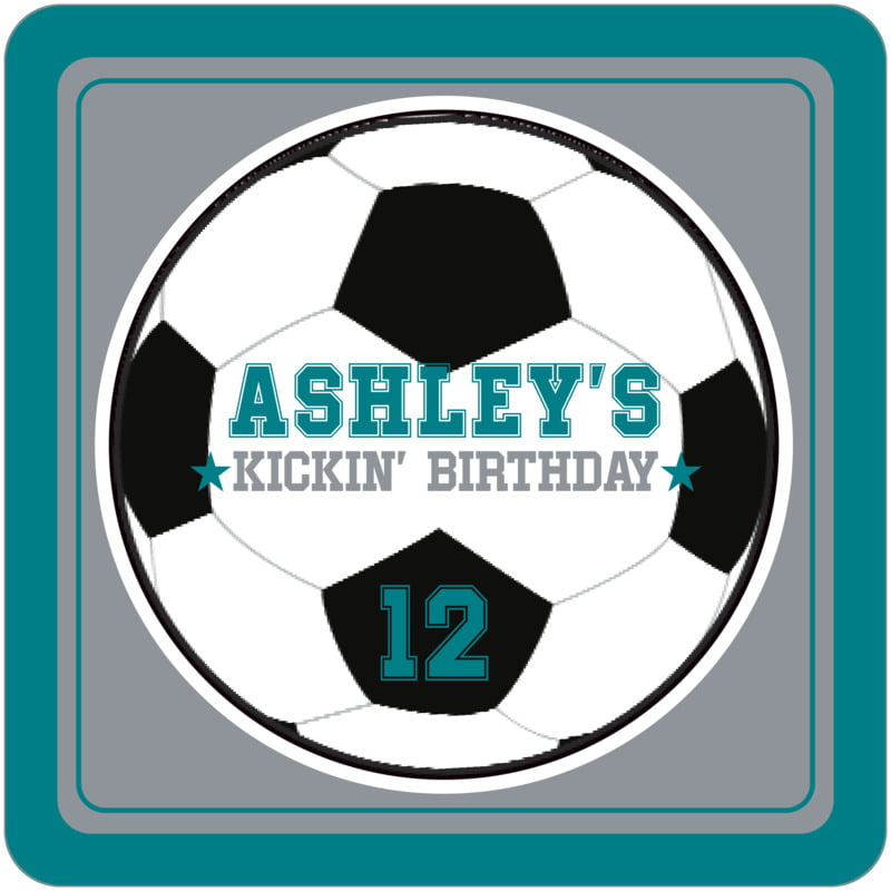square beer coasters - silver & teal - soccer (set of 12)