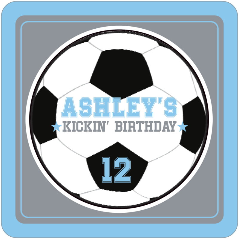 square beer coasters - silver & light blue - soccer (set of 12)