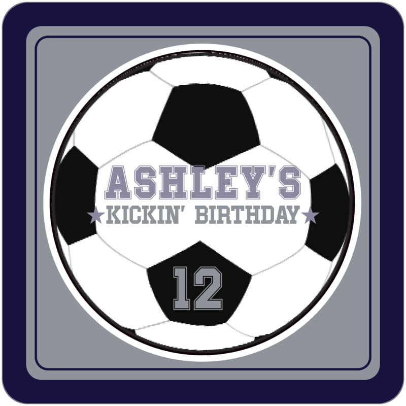 square beer coasters - silver & navy - soccer (set of 12)