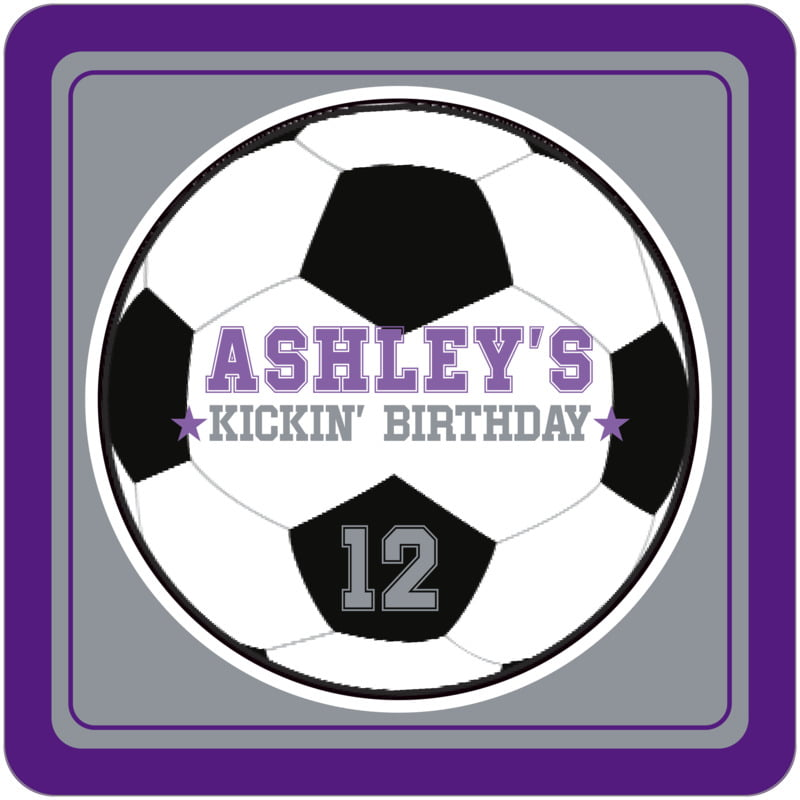 square beer coasters - silver & purple - soccer (set of 12)