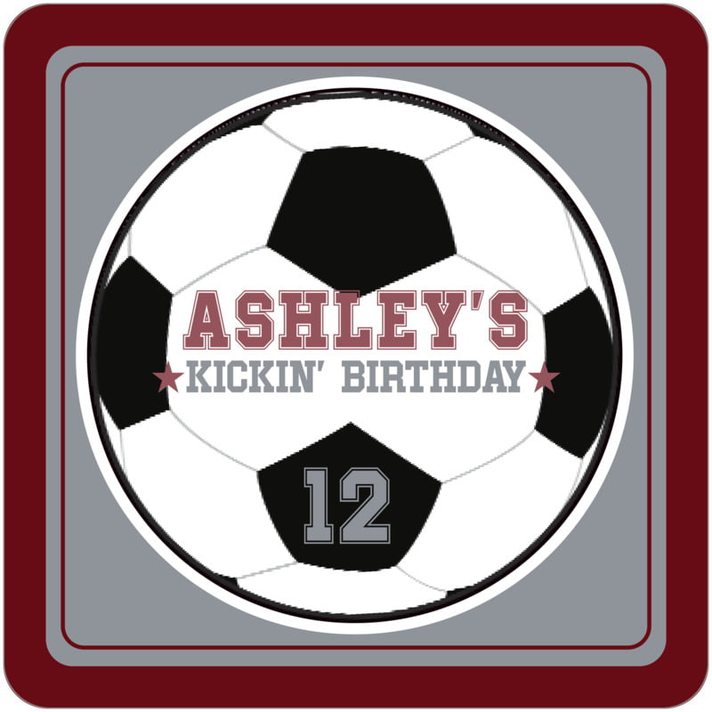 square beer coasters - silver & maroon - soccer (set of 12)