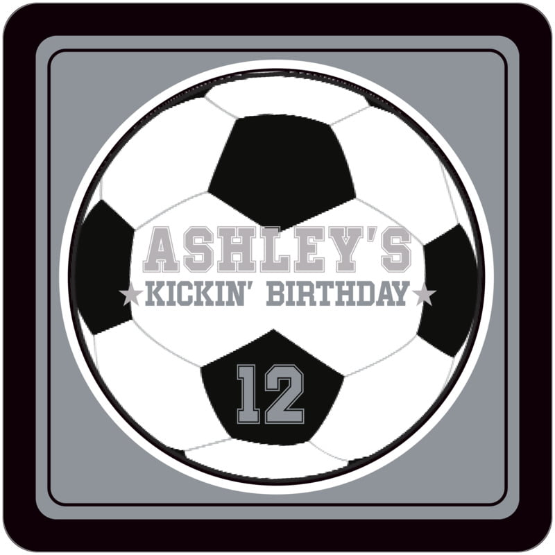 square beer coasters - silver & black - soccer (set of 12)