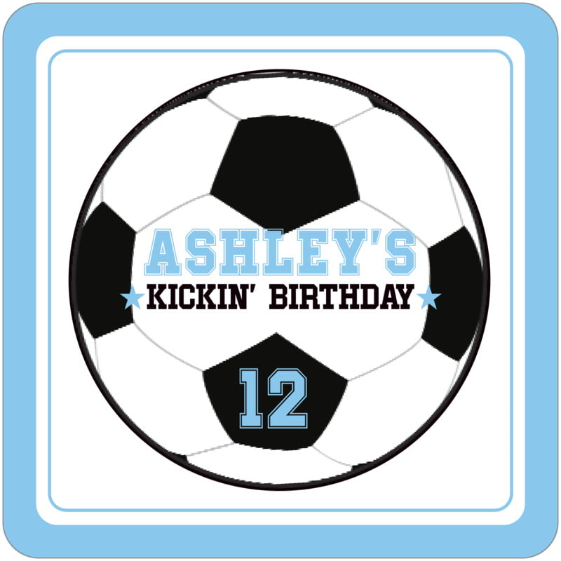 square beer coasters - white & light blue - soccer (set of 12)