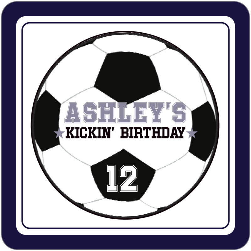 square beer coasters - white & navy - soccer (set of 12)