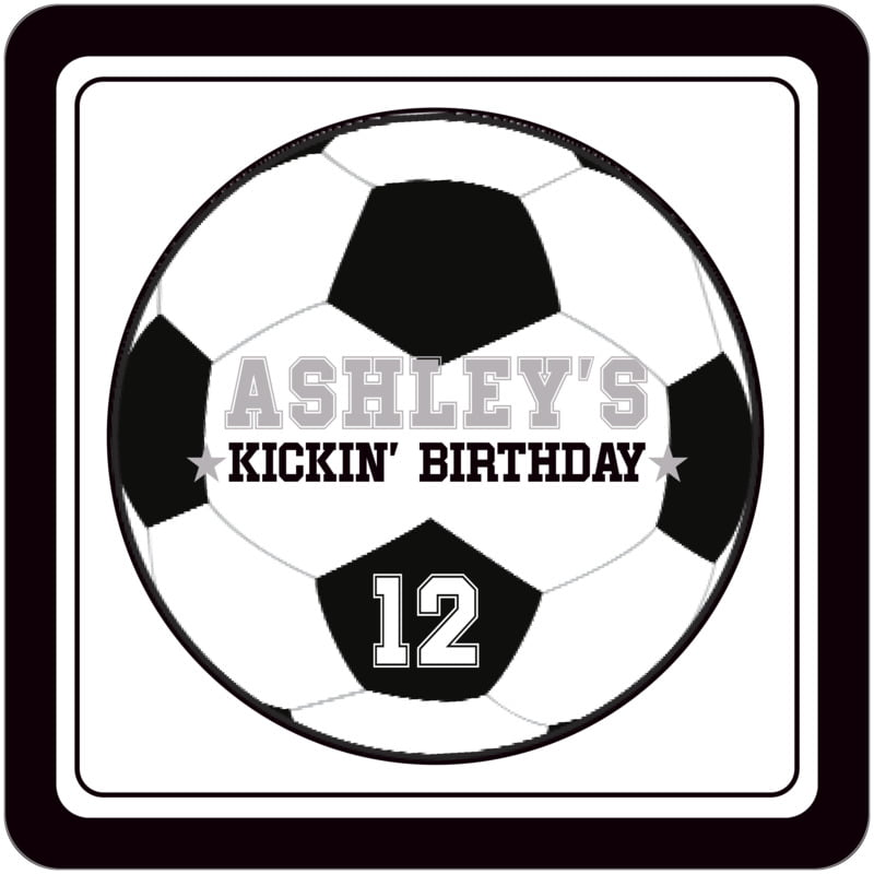 square beer coasters - white & black - soccer (set of 12)