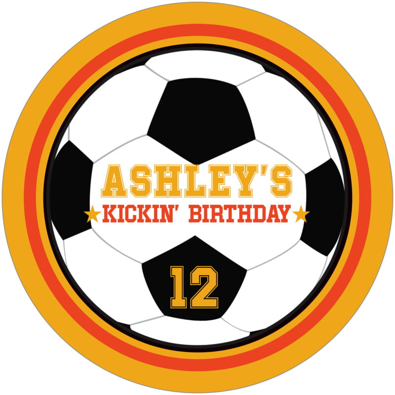 round beer coasters - orange & gold - soccer (set of 12)