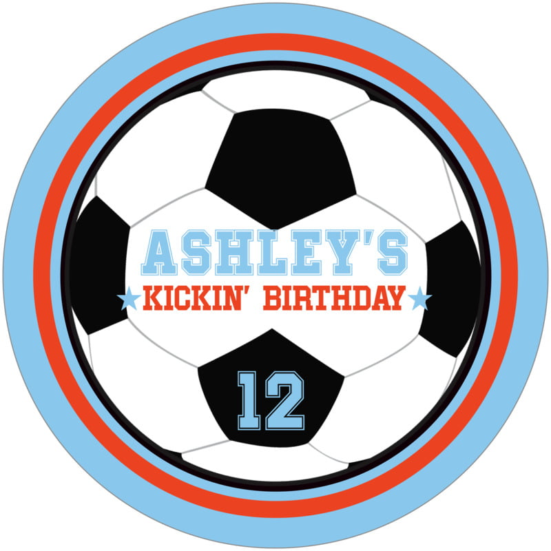 round beer coasters - orange & light blue - soccer (set of 12)