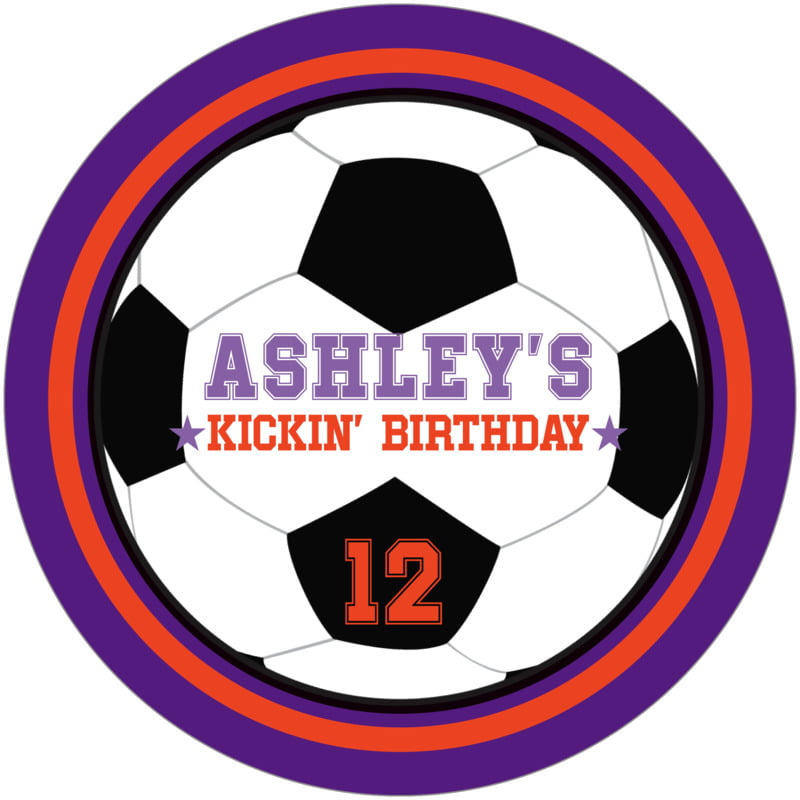 round beer coasters - orange & purple - soccer (set of 12)
