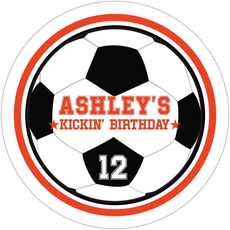 round beer coasters - orange & white - soccer (set of 12)