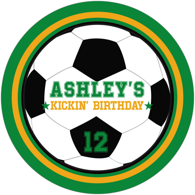 round beer coasters - gold & green - soccer (set of 12)
