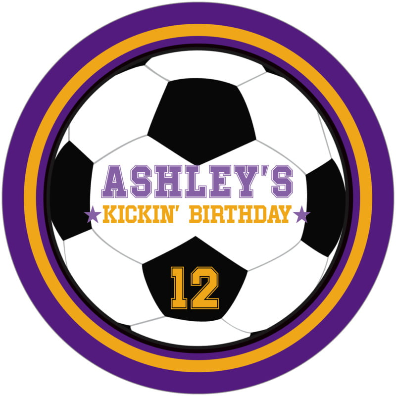 round beer coasters - gold & purple - soccer (set of 12)