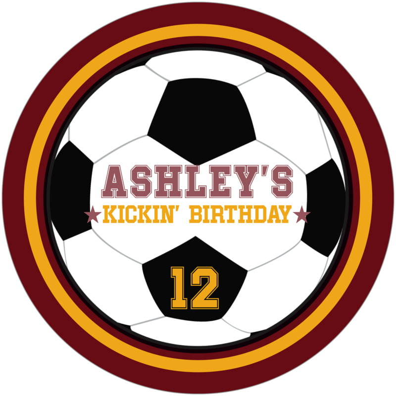 round beer coasters - gold & maroon - soccer (set of 12)
