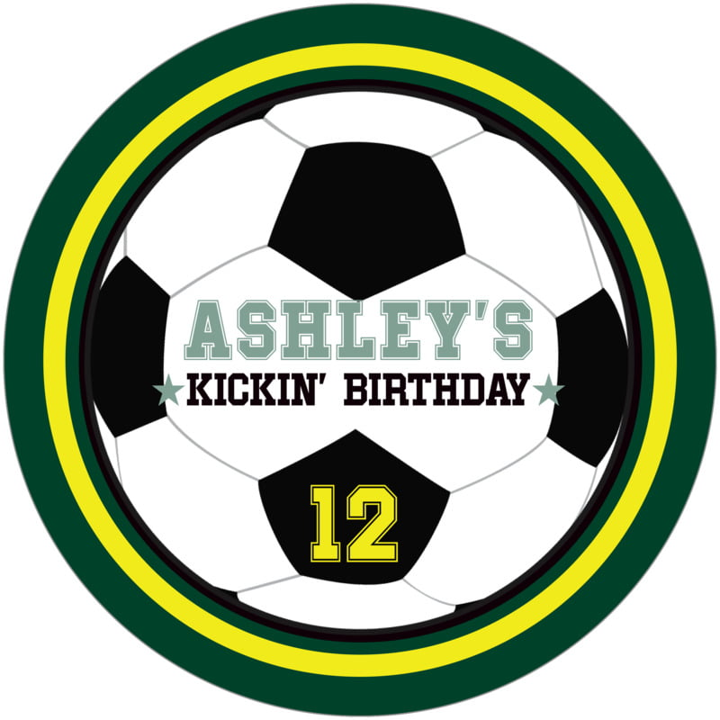 round beer coasters - yellow & forest - soccer (set of 12)
