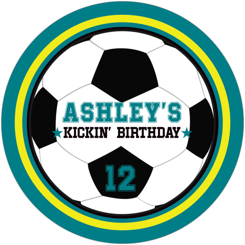 round beer coasters - yellow & teal - soccer (set of 12)