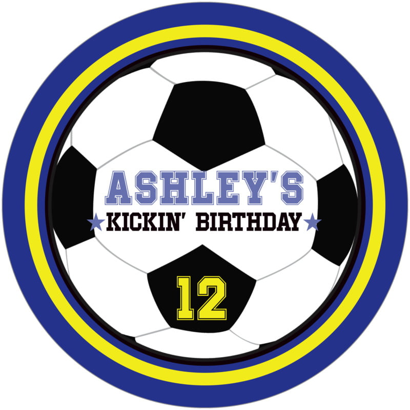 round beer coasters - yellow & royal - soccer (set of 12)