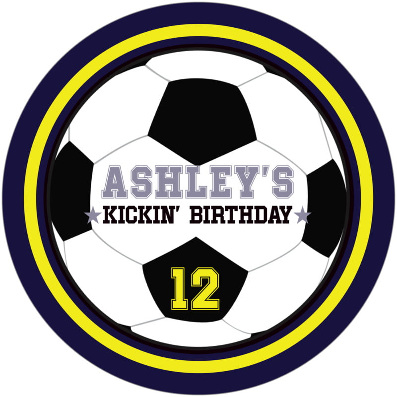 round beer coasters - yellow & navy - soccer (set of 12)