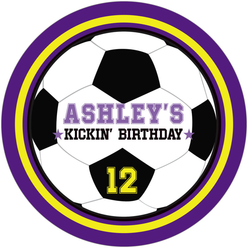 round beer coasters - yellow & purple - soccer (set of 12)