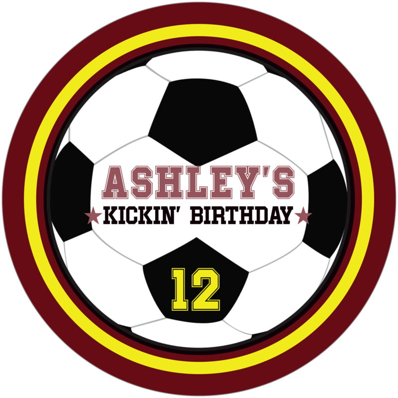 round beer coasters - yellow & maroon - soccer (set of 12)