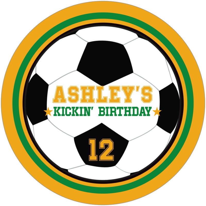 round beer coasters - green & gold - soccer (set of 12)