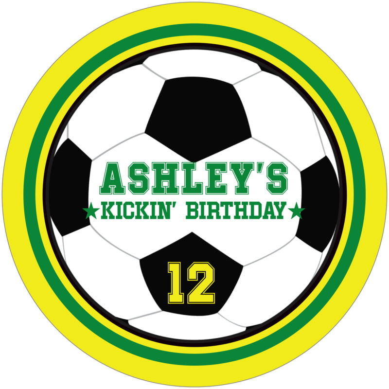 round beer coasters - green & yellow - soccer (set of 12)