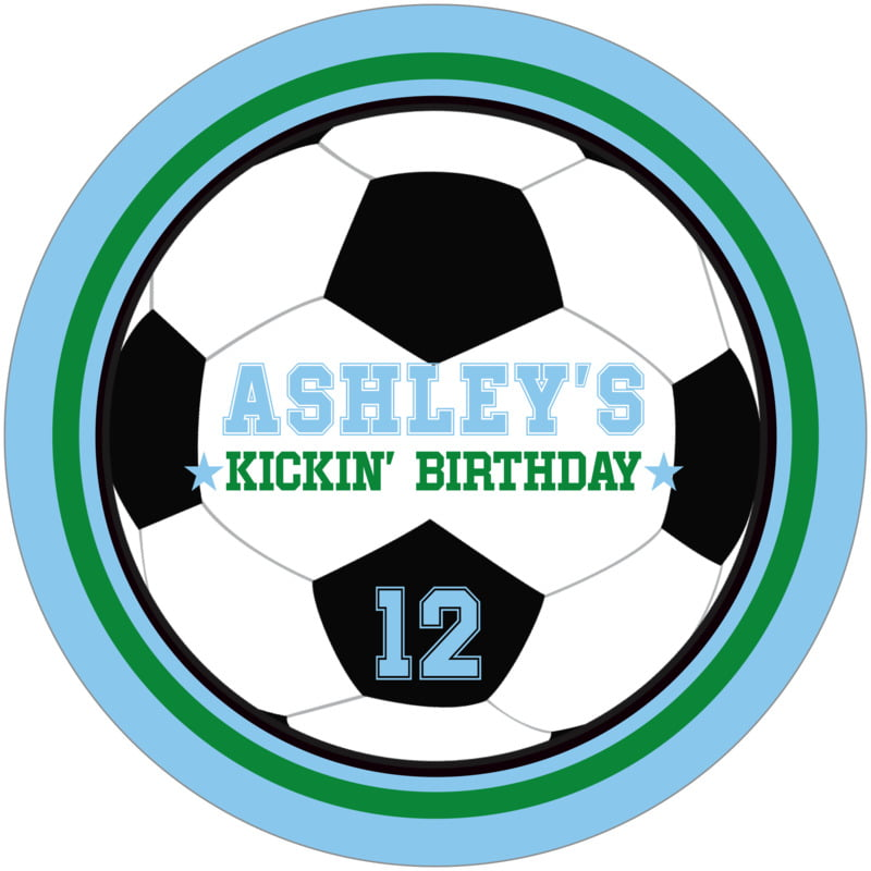 round beer coasters - green & light blue - soccer (set of 12)