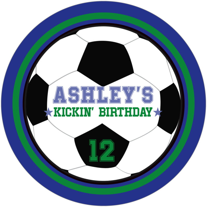 round beer coasters - green & royal - soccer (set of 12)