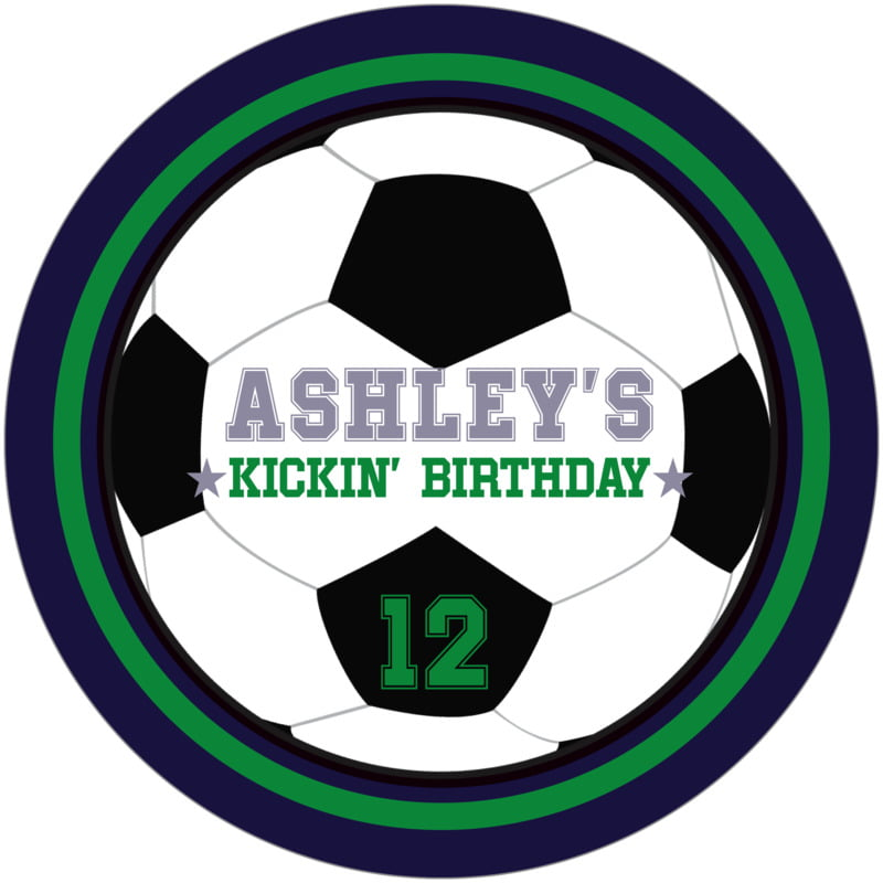 round beer coasters - green & navy - soccer (set of 12)