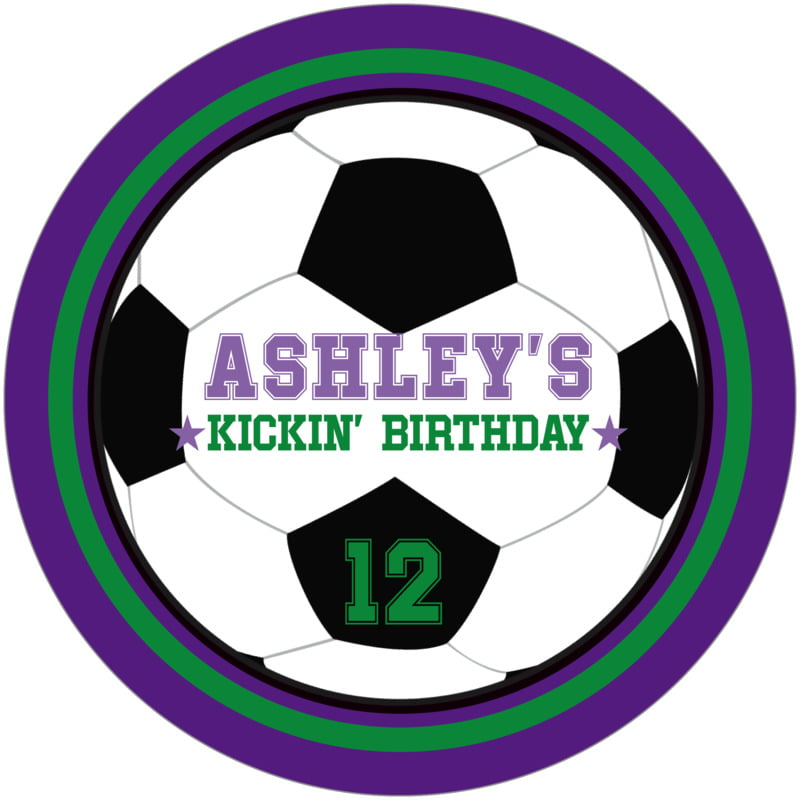 round beer coasters - green & purple - soccer (set of 12)