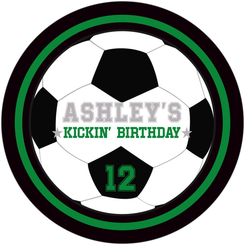 round beer coasters - green & black - soccer (set of 12)