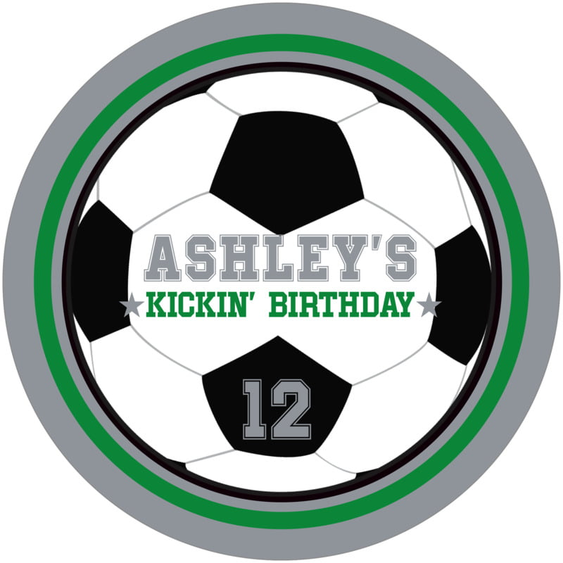 round beer coasters - green & silver - soccer (set of 12)