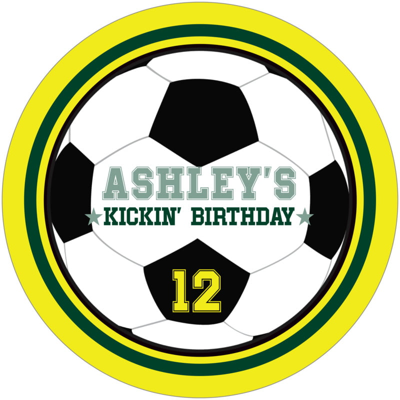 round beer coasters - forest & yellow - soccer (set of 12)