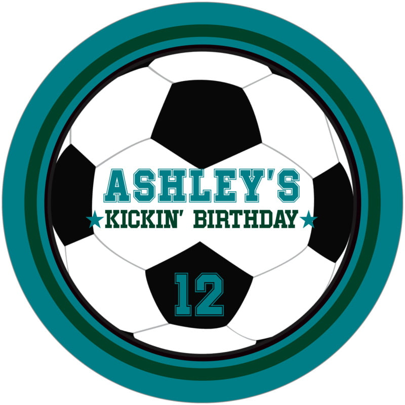 round beer coasters - forest & teal - soccer (set of 12)