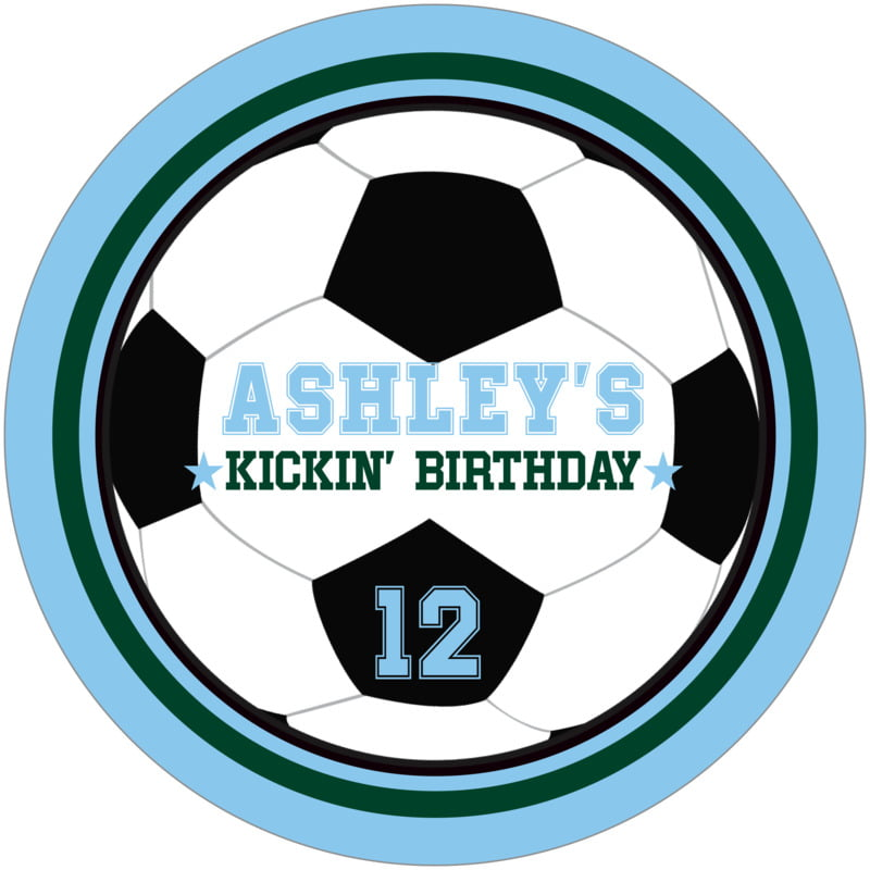 round beer coasters - forest & light blue - soccer (set of 12)