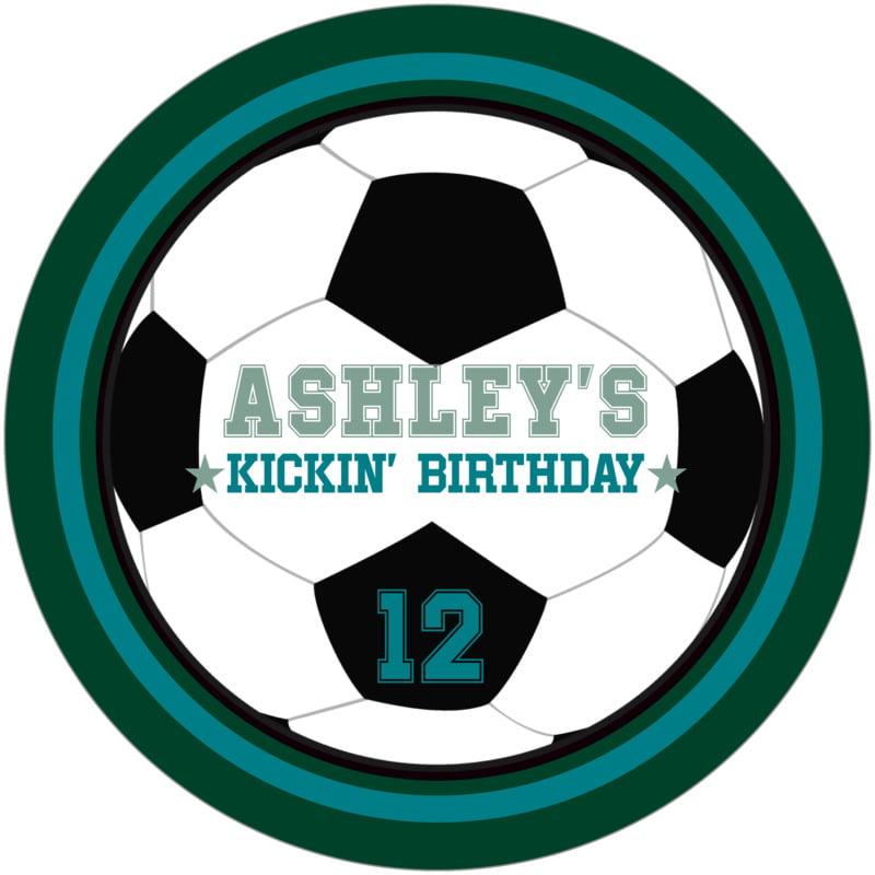 round beer coasters - teal & forest - soccer (set of 12)