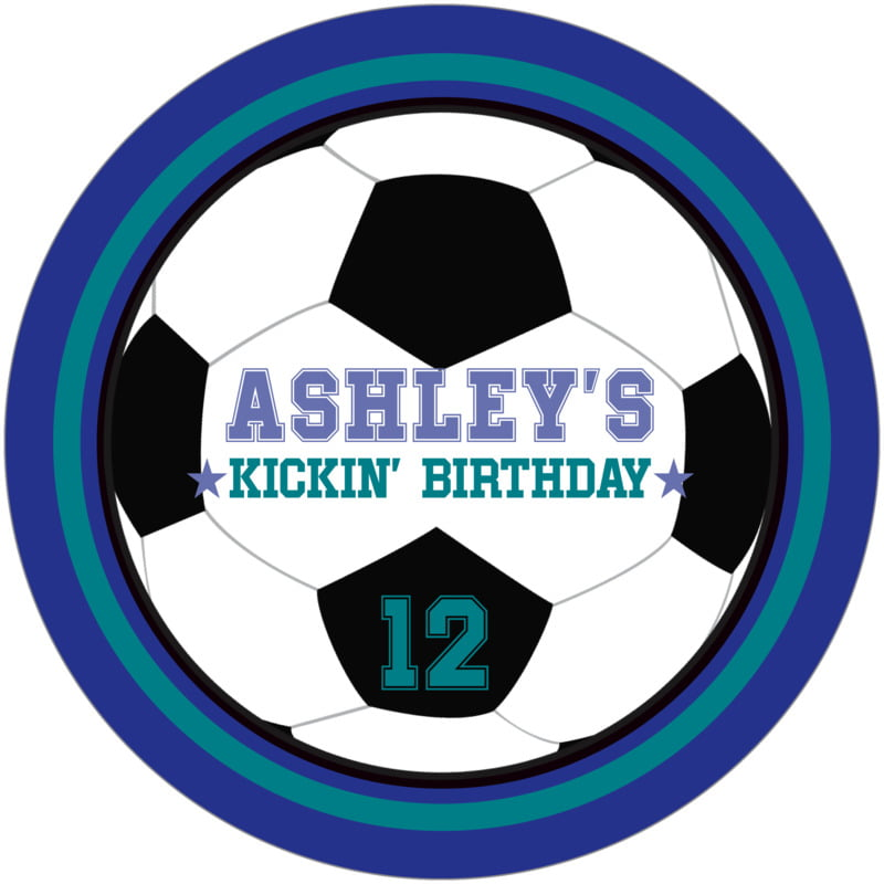 round beer coasters - teal & royal - soccer (set of 12)