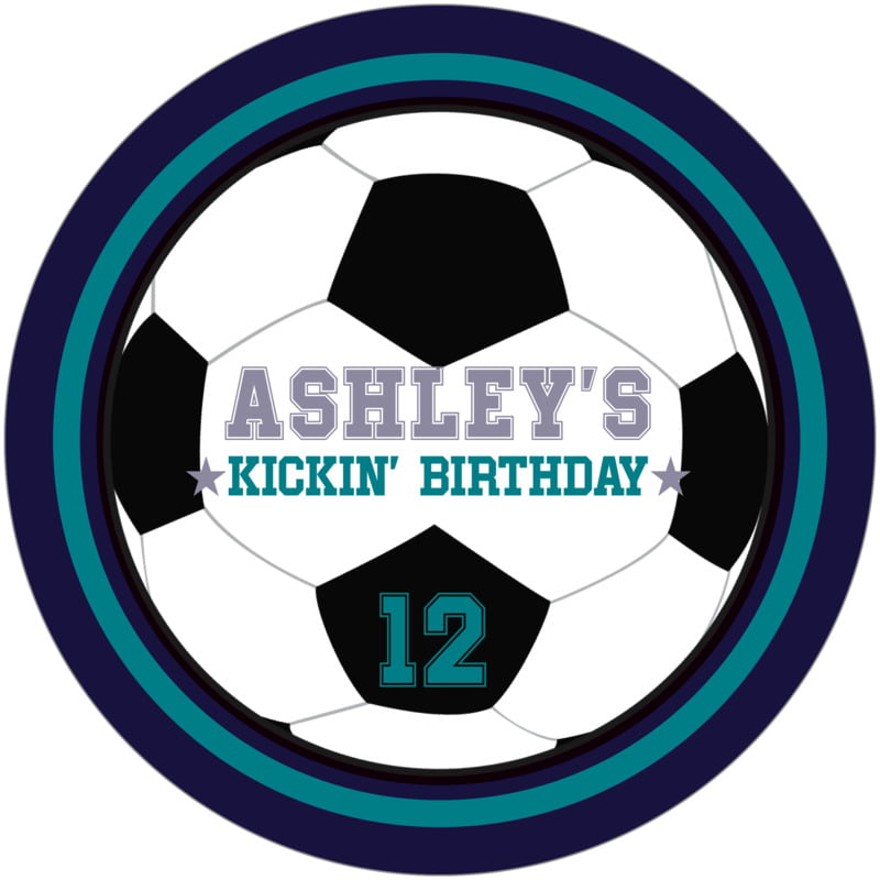 round beer coasters - teal & navy - soccer (set of 12)