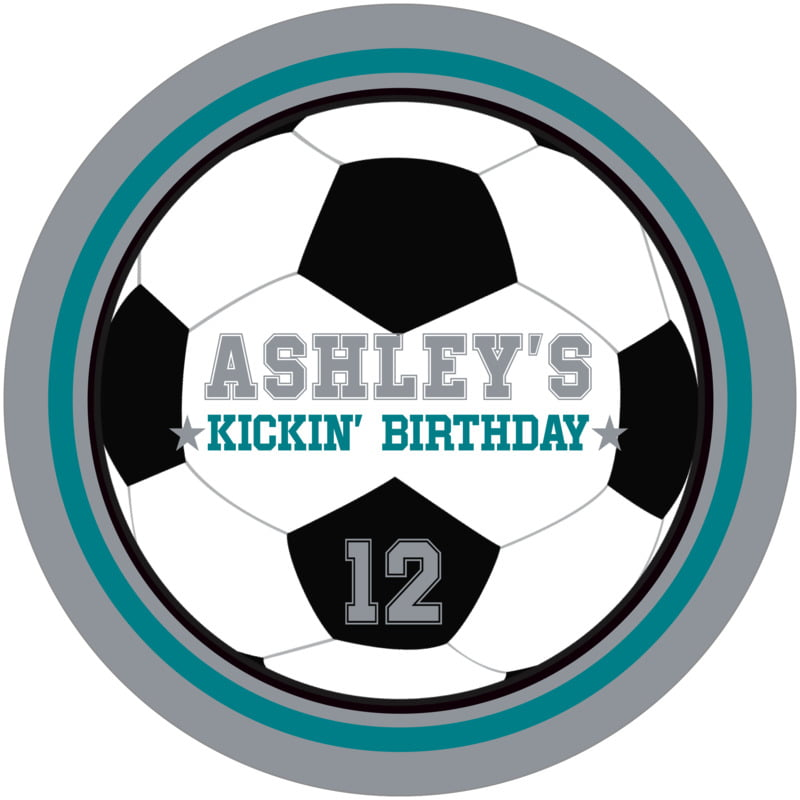 round beer coasters - teal & silver - soccer (set of 12)
