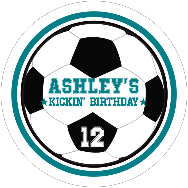 round beer coasters - teal & white - soccer (set of 12)