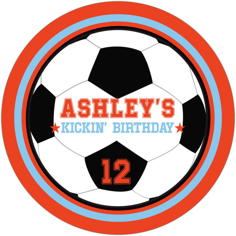 round beer coasters - light blue & orange - soccer (set of 12)