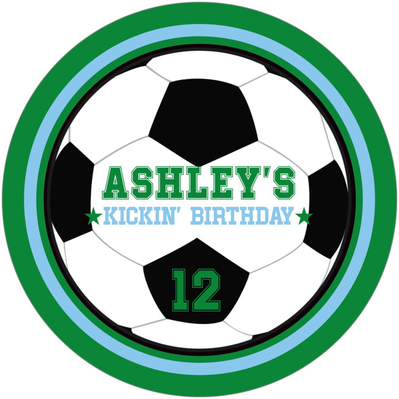 round beer coasters - light blue & green - soccer (set of 12)
