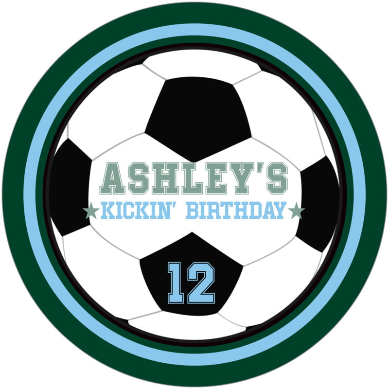 round beer coasters - light blue & forest - soccer (set of 12)