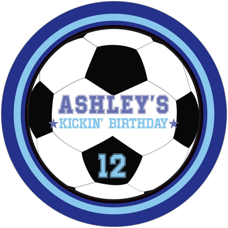 round beer coasters - light blue & royal - soccer (set of 12)
