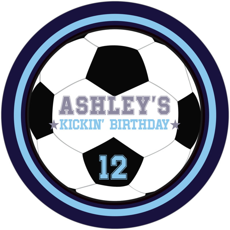 round beer coasters - light blue & navy - soccer (set of 12)