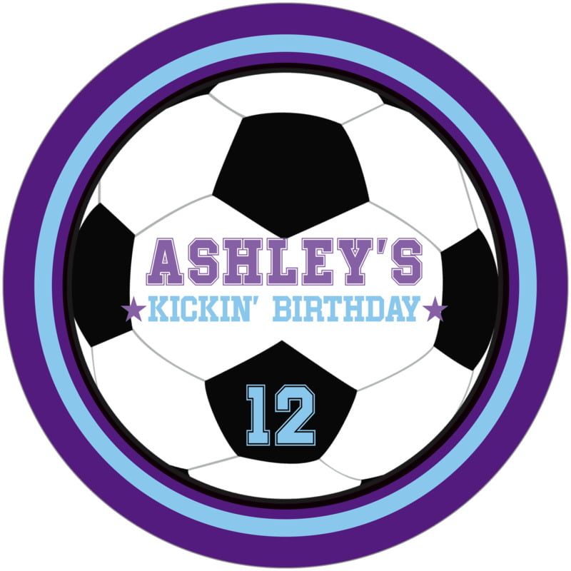 round beer coasters - light blue & purple - soccer (set of 12)