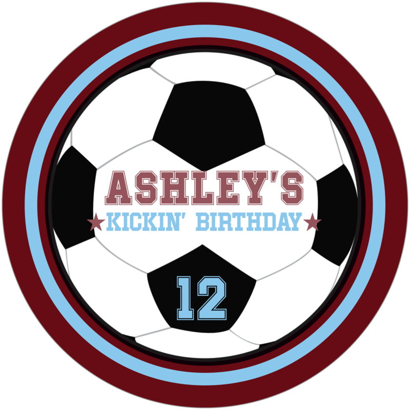 round beer coasters - light blue & maroon - soccer (set of 12)
