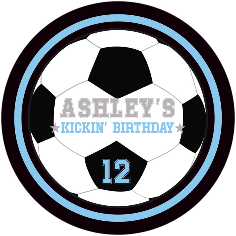 round beer coasters - light blue & black - soccer (set of 12)