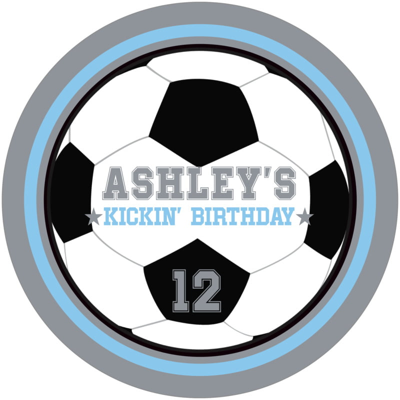 round beer coasters - light blue & silver - soccer (set of 12)